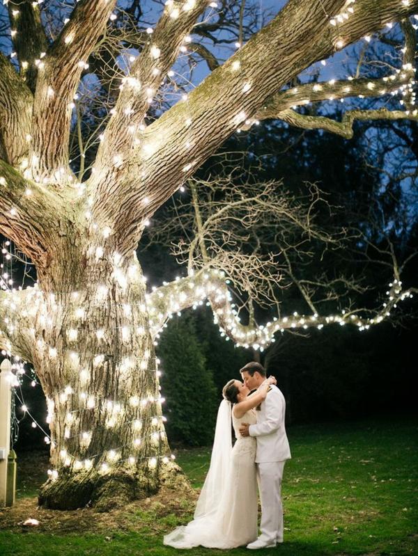 déco mariage hiver extérieur guirlandes lumineuses