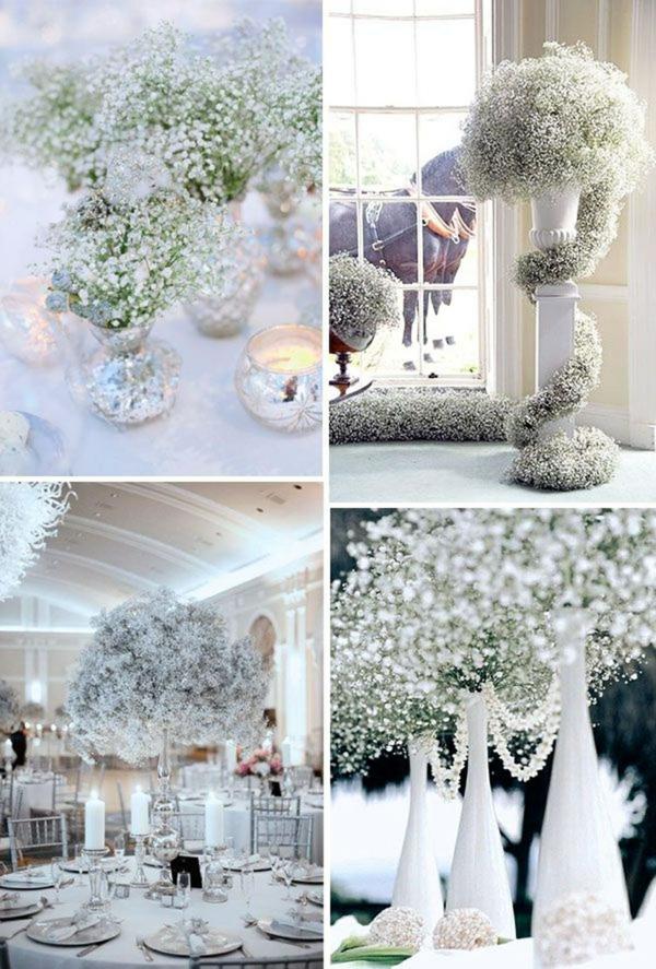 déco mariage hiver fleurs de mariée gypsophile
