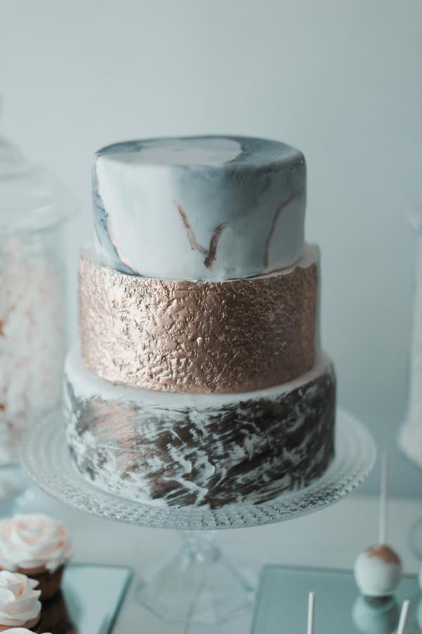 déco mariage hiver gâteau déco effet marbre