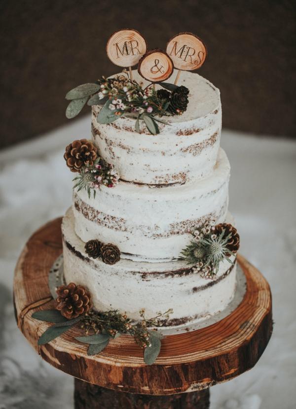 déco mariage hiver gâteau style rustique