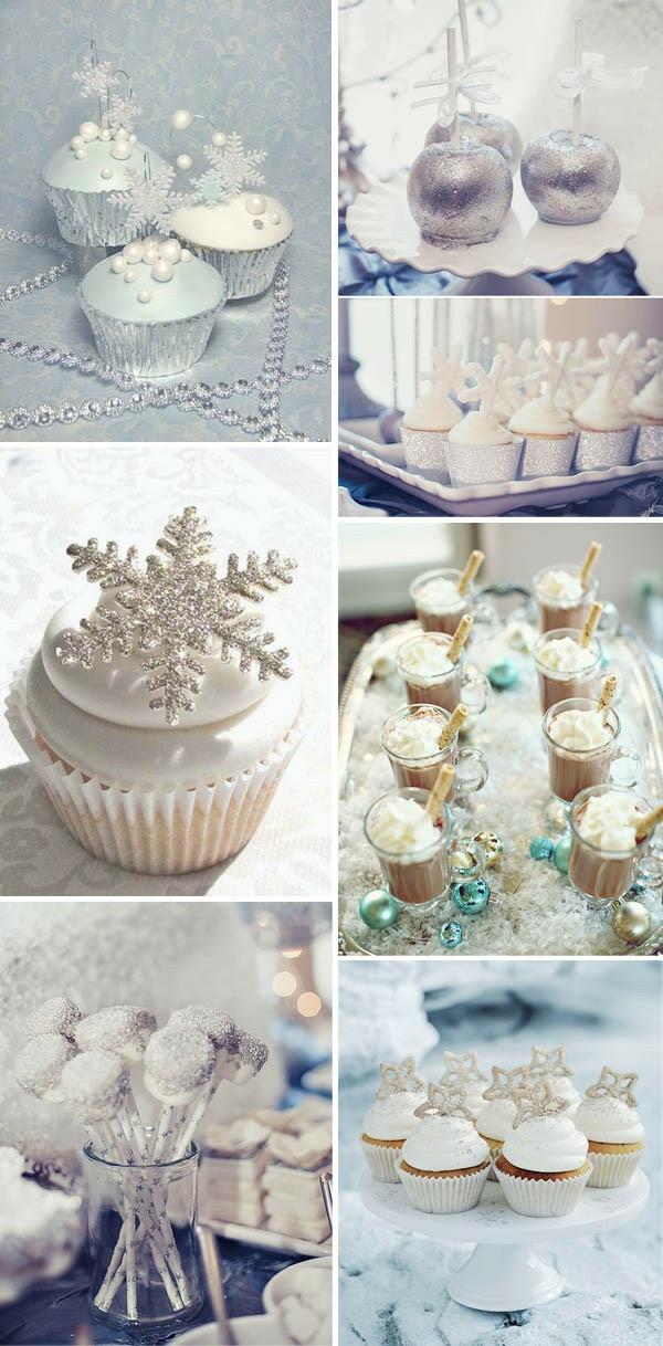 déco mariage hiver gâteaux flocons de neige