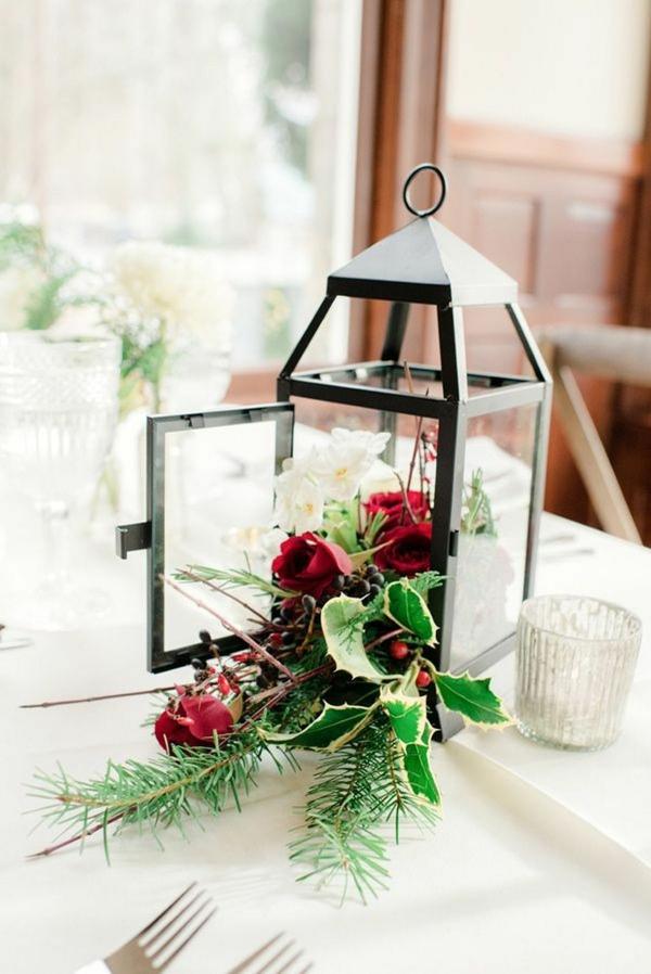 déco mariage hiver lanterne pleine de fleurs