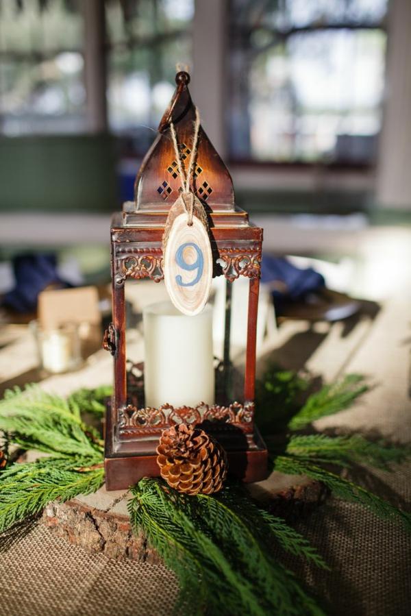 déco mariage hiver lanterne rustique centre de table