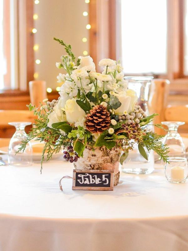 déco mariage hiver numéro de table pot de fleurs