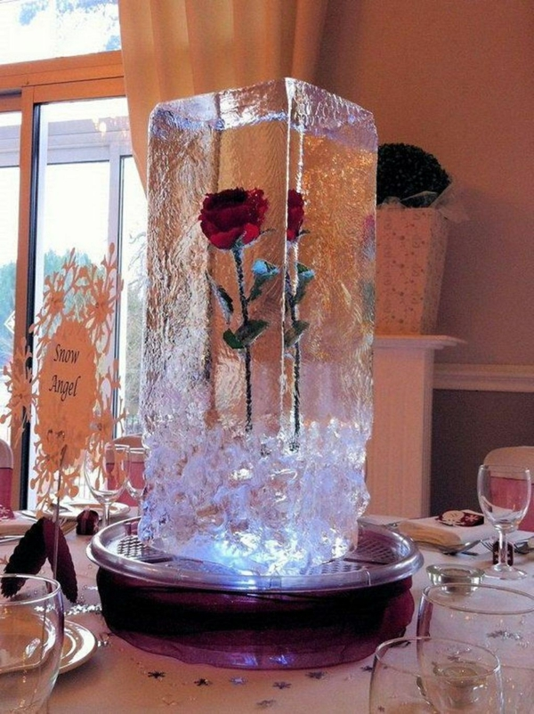 déco mariage hiver sculpture en glace