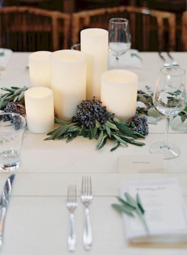 déco mariage hiver table festive bougies