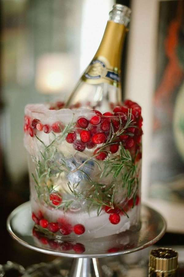 déco mariage hiver vase de glace
