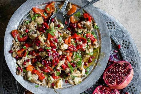 idée repas nouvel an Salade d'aubergines et poivrons fumés