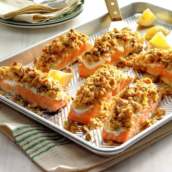 idée repas nouvel an Saumon au raifort et à la pistache