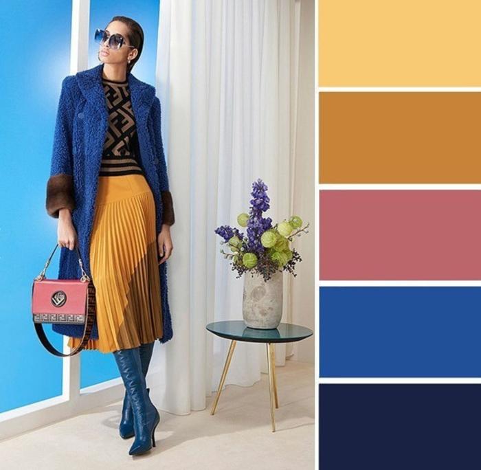 mode femme classic blue couleur pantone 2020 avec jaune