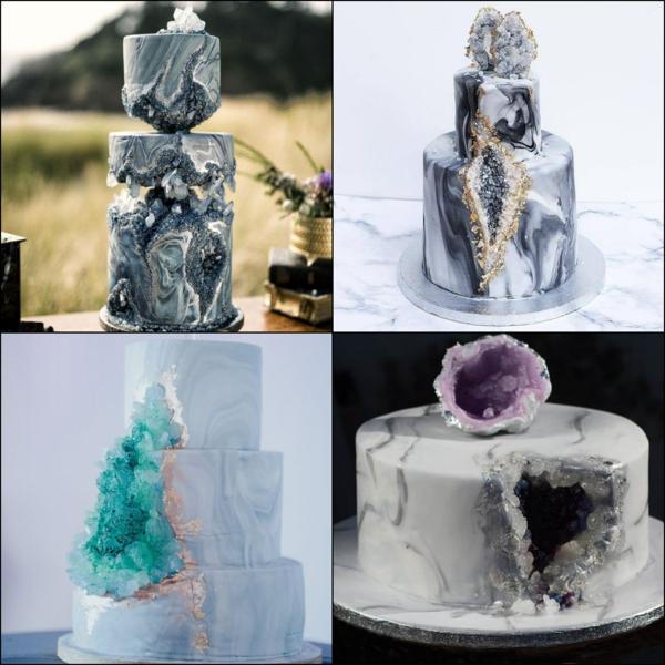 préparer gâteau géode au glaçage effet marbre