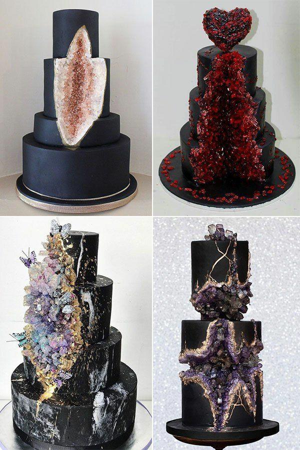 préparer gâteau géode au glaçage noir