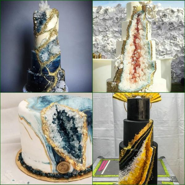 préparer gâteau géode déco en couches feuille d'or