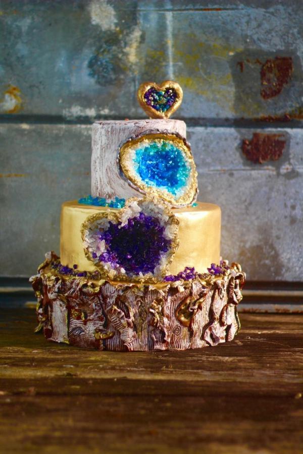 préparer gâteau géode en trois couches différentes