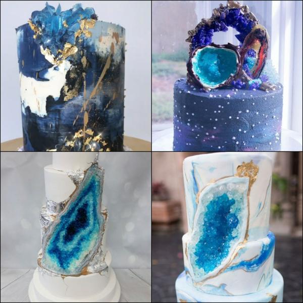 préparer gâteau géode sucre rock candy de couleur bleu