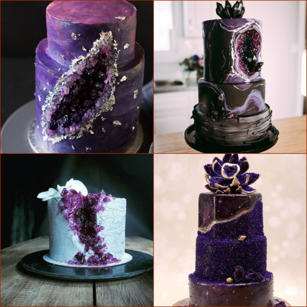 préparer gâteau géode sucre rock candy de couleur violet