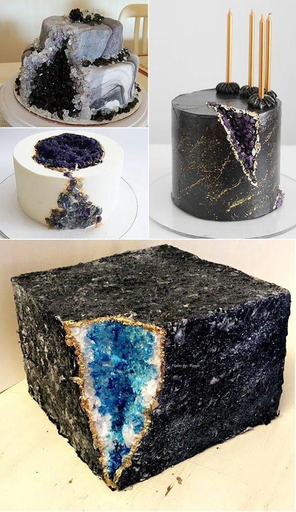 préparer gâteau géode sucre rock candy noir