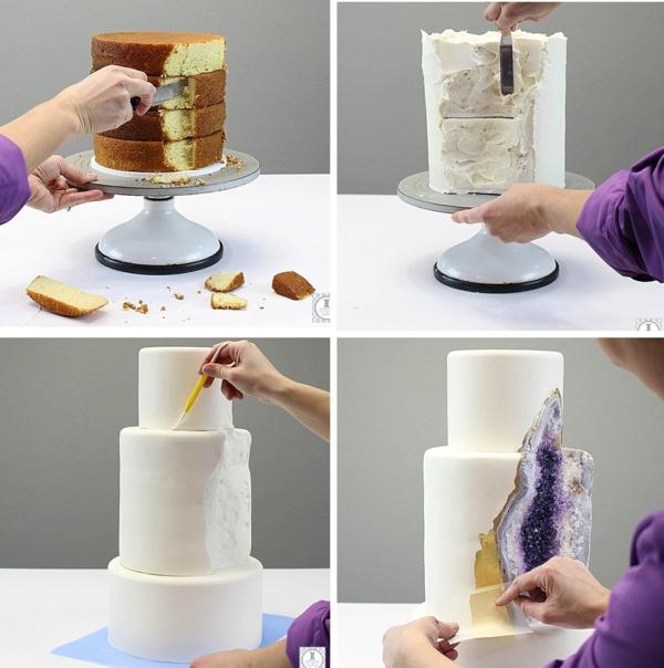 préparer gâteau géode technique