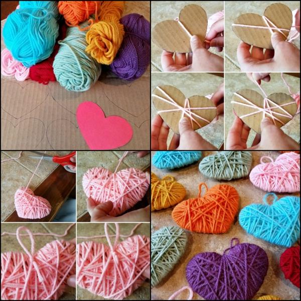 Guirlande cœur faite en fils à tricoter technique