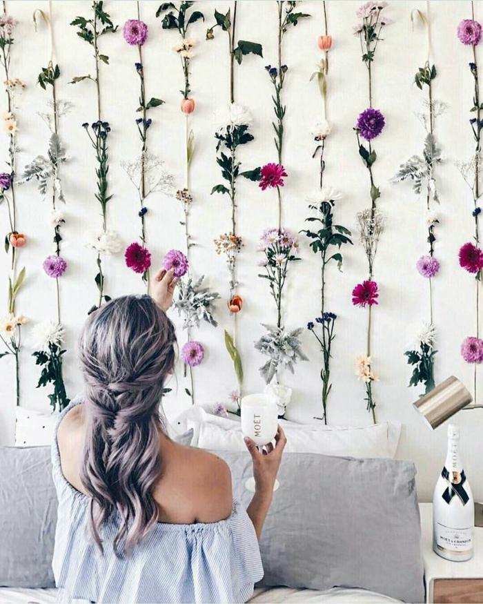 ambiance romantique déco murale fleurs artificielles déco chambre romantique