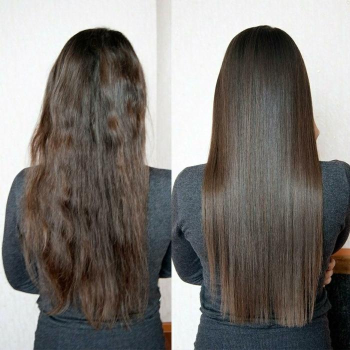 avant après soin kératine cheveux lisses