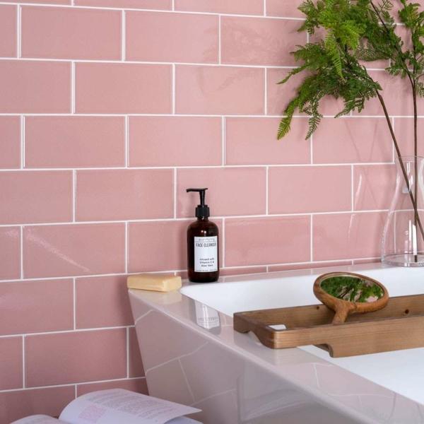 carrelage salle de bain 2020 en rose poudré