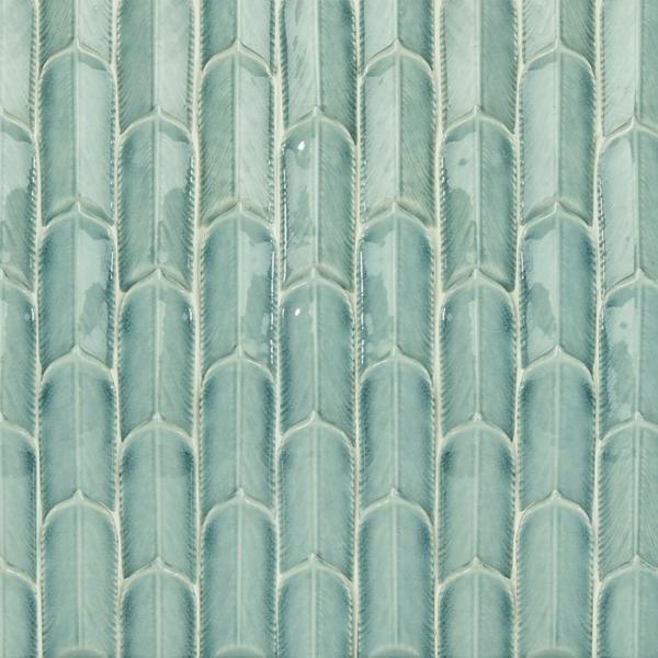 carrelage salle de bain 2020 finition brillante texturée couleur vert menthe