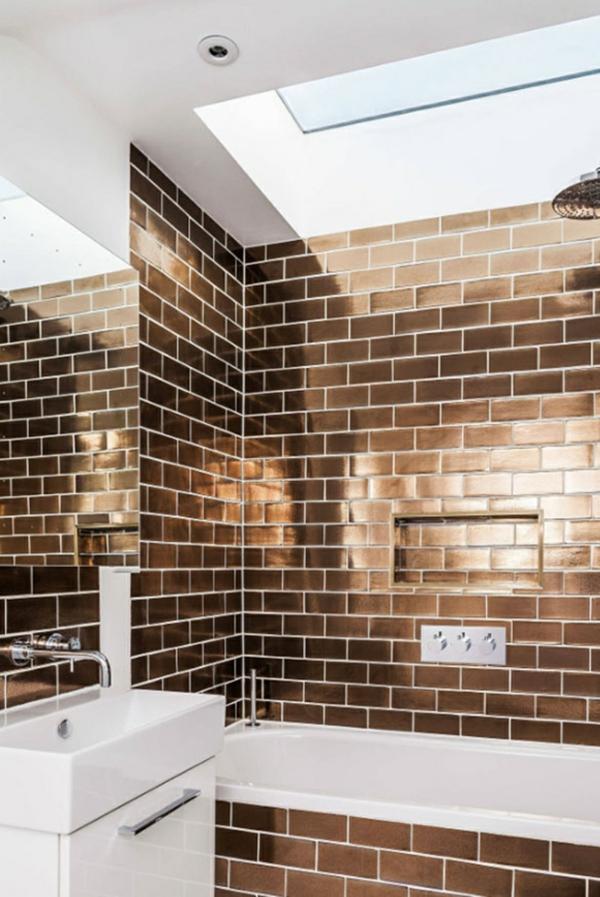 carrelage salle de bain 2020 finition métallique or rose