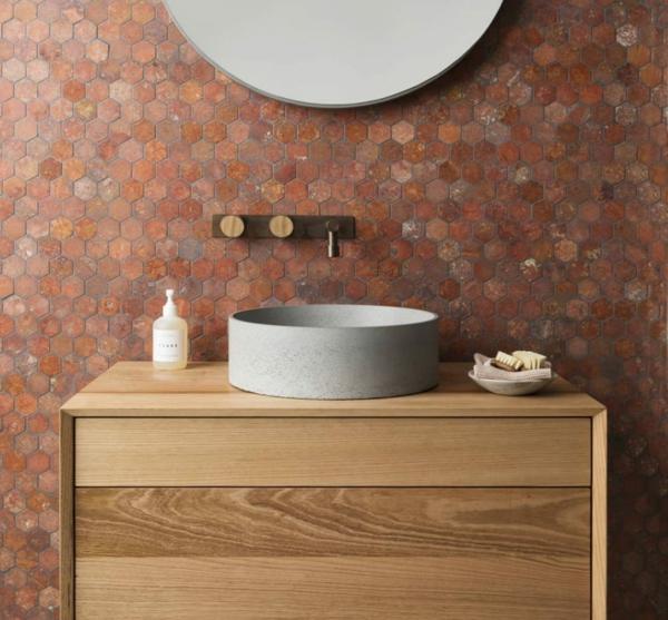 carrelage salle de bain 2020 mosaïque de couleurs terrestres