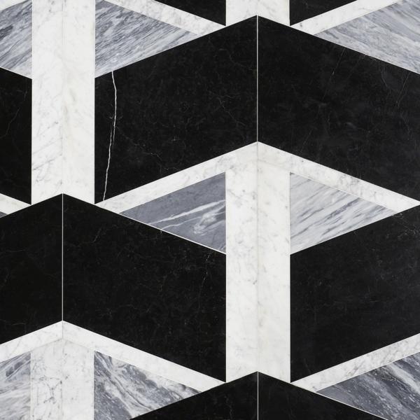 carrelage salle de bain 2020 motifs graphiques en blanc noir et gris