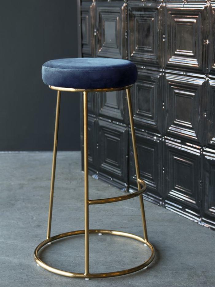 chaise en velours cuisine bleu classique
