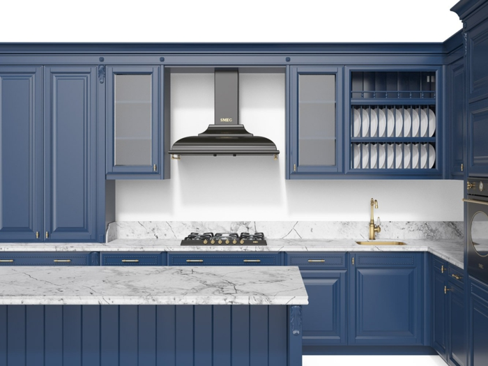 cuisine bleu classique et marbre