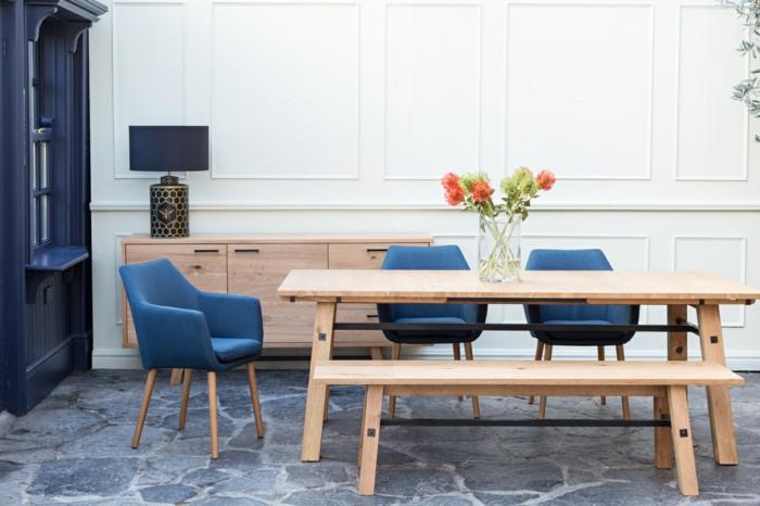 cuisine bleu classique look moderne chaises