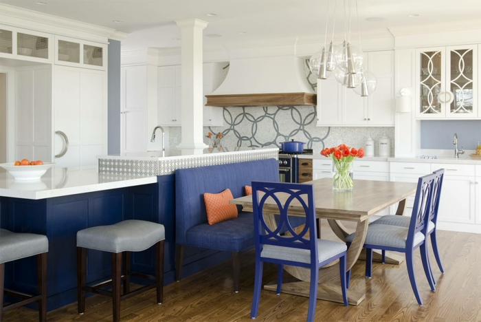 cuisine design cuisine bleu classique idée