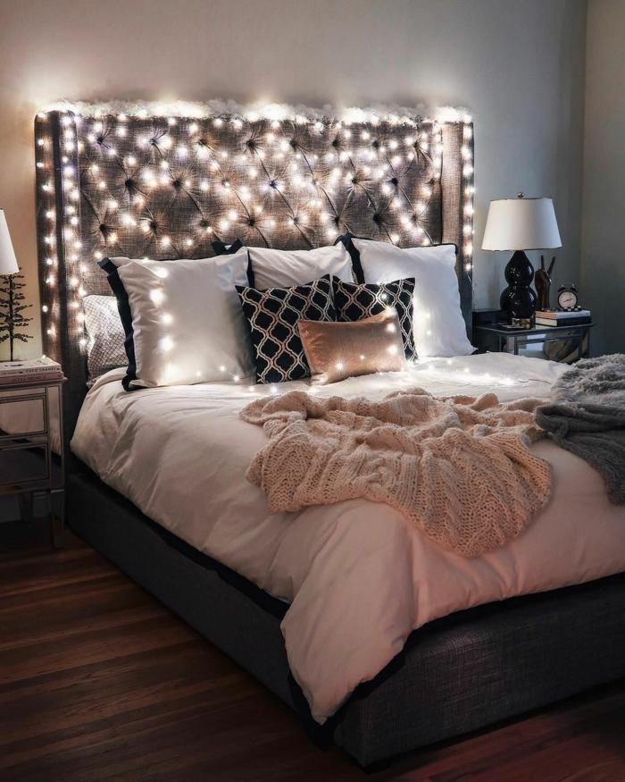 déco chambre romantique avec guirlande lumineuse