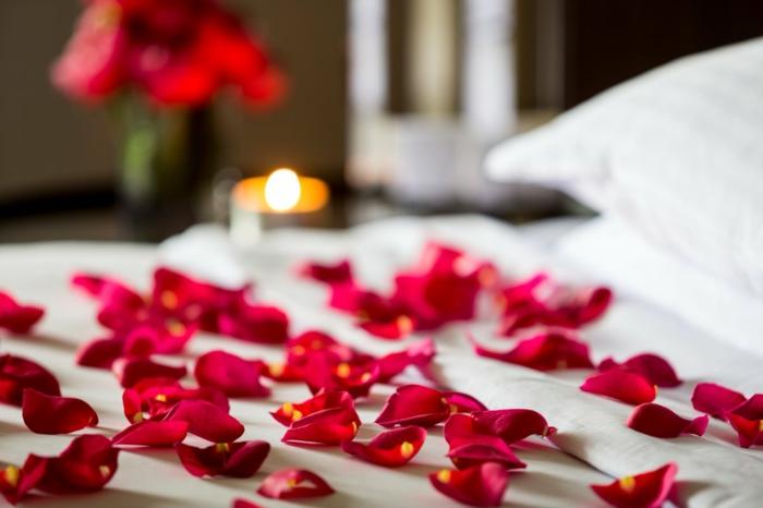 déco chambre romantique pétales de roses