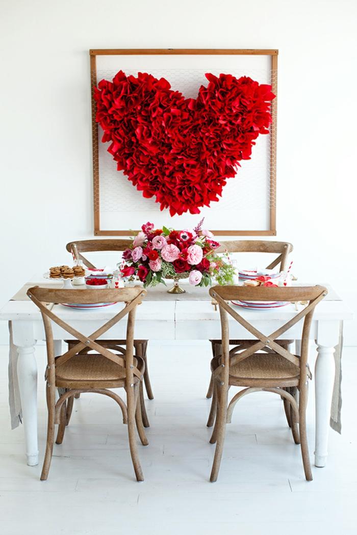 déco murale coeur en papier rouge déco chambre romantique