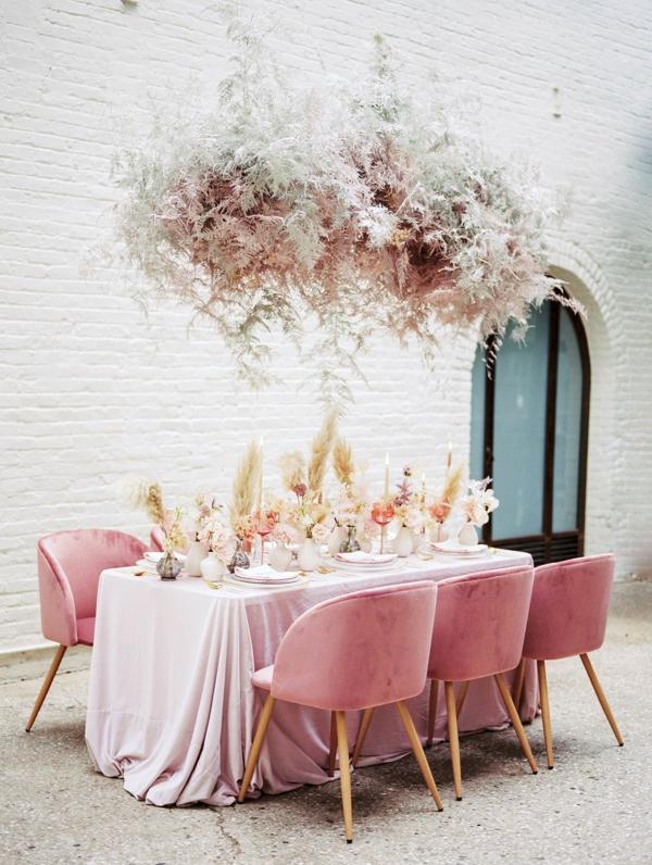 décoration salle de mariage plantes séchées