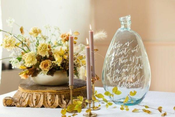 décoration salle de mariage vases en verre