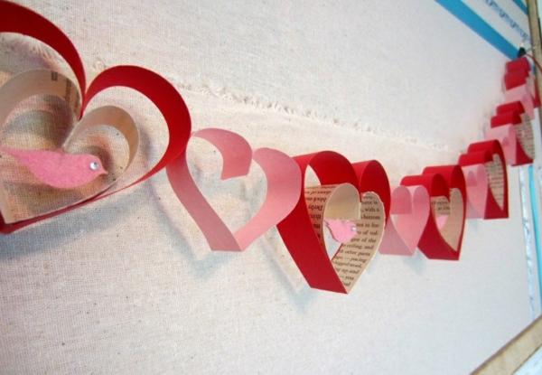 diy guirlande coeur saint valentin papier carton coloré
