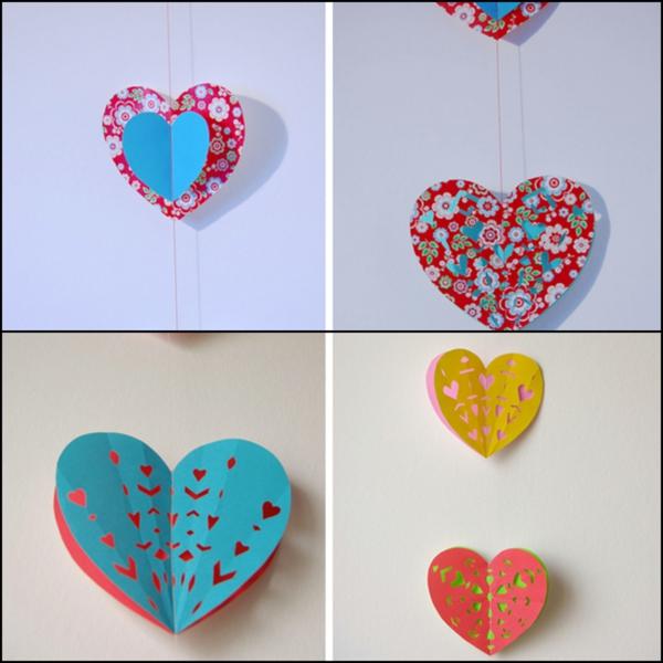 diy guirlande coeur saint valentin papier coloré