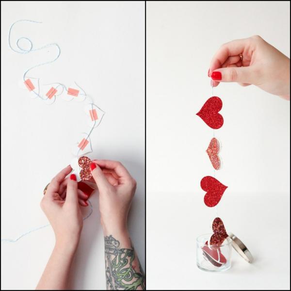 diy guirlande coeur saint valentin papier kraft bande autocollante fil