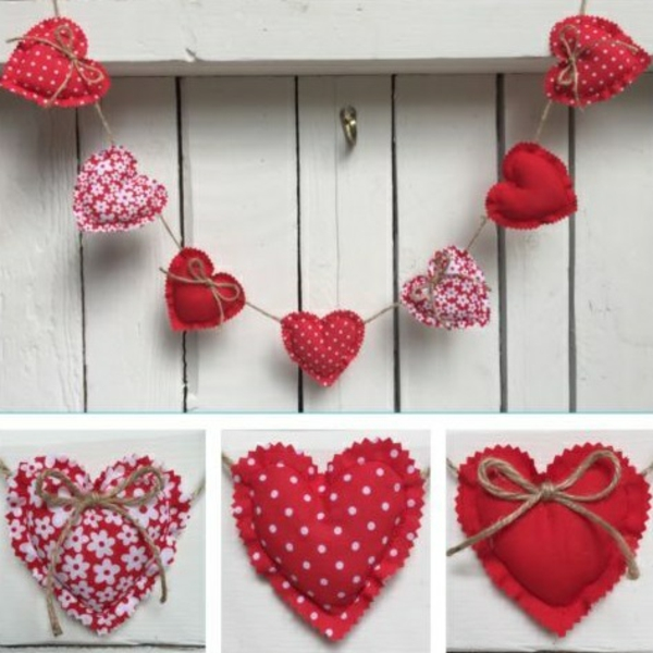 diy guirlande coeur saint valentin tissu