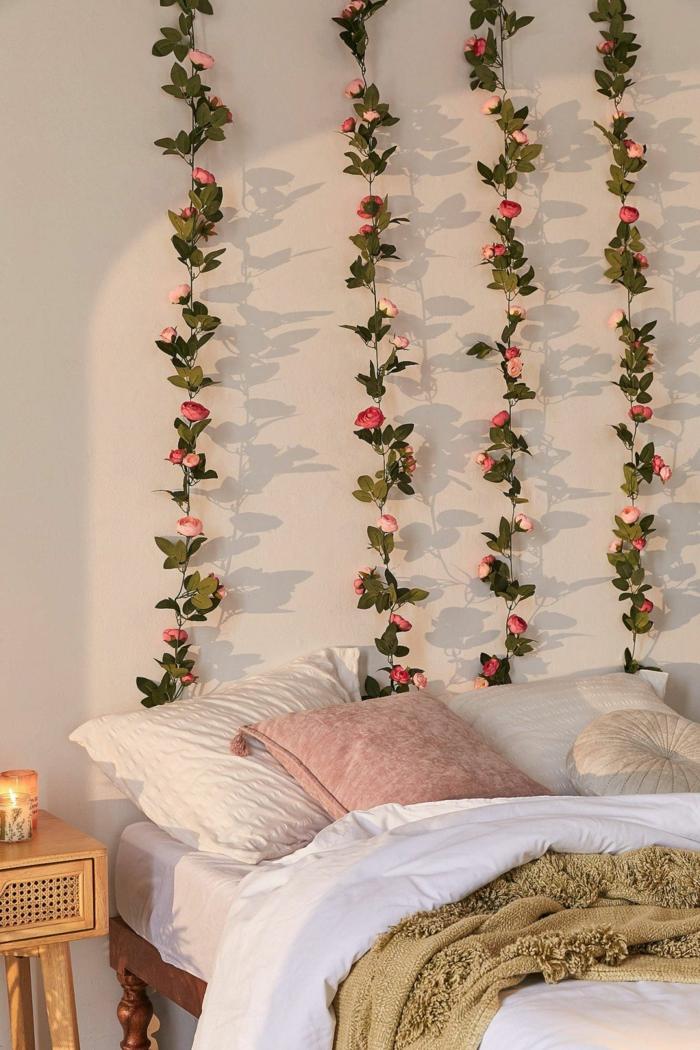 fleurs artificielles déco chambre romantique