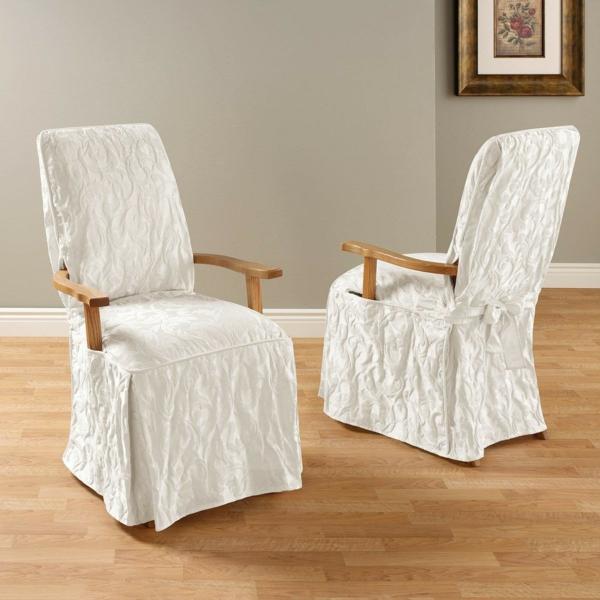 housse de chaise blanche à relief