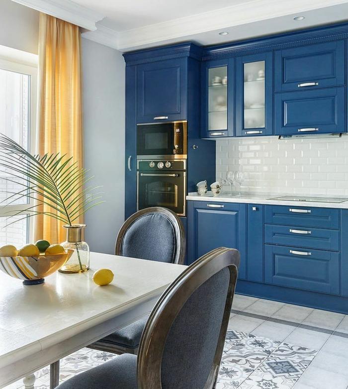meubles cuisine bleu classique