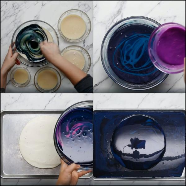 préparer gâteau galaxie au glaçage miroir colorer le glaçage