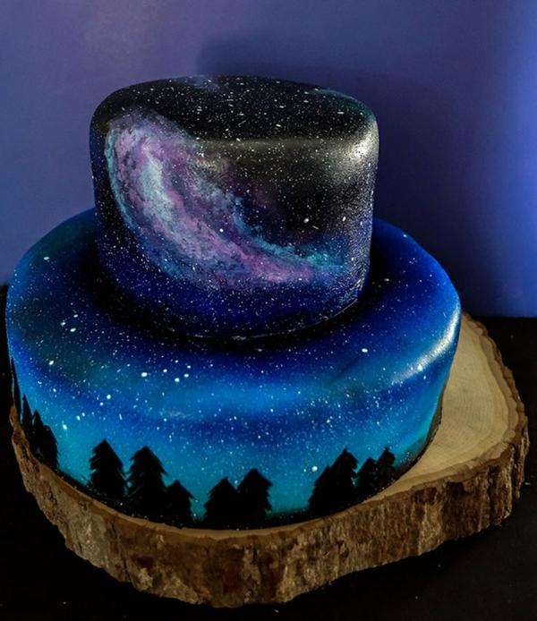 préparer gâteau galaxie au glaçage miroir en deux couches