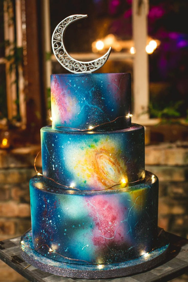 préparer gâteau galaxie au glaçage miroir en trois couches