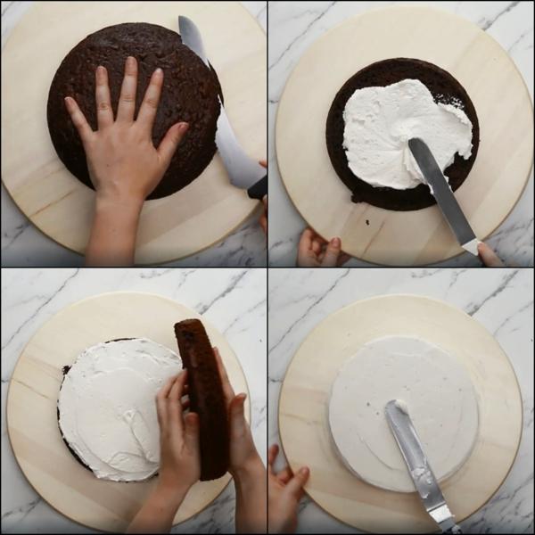 préparer gâteau galaxie au glaçage miroir garnir de crème